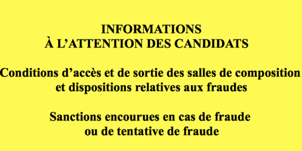 Note aux candidats